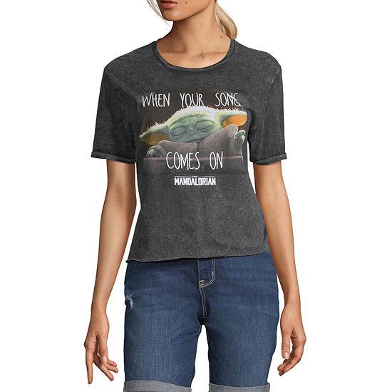Juniors Baby Yoda Womens Round Neck Short Sleeve Graphic T-Shirt