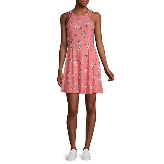 Derek Heart-Juniors Sleeveless Floral Fit & Flare Dress