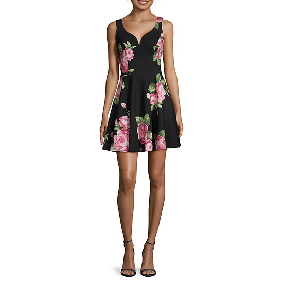 B. Darlin-Juniors Sleeveless Fit & Flare Dress