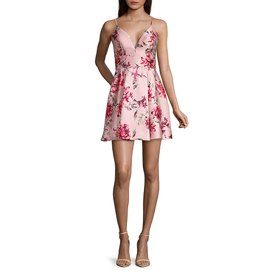 Speechless-Juniors Spaghetti Strap Floral Fit & Flare Dress