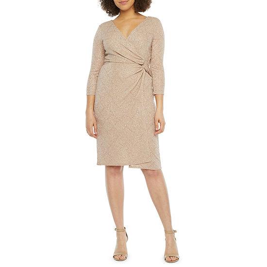 Blu Sage 3/4 Sleeve Glitter Knit Sheath Dress
