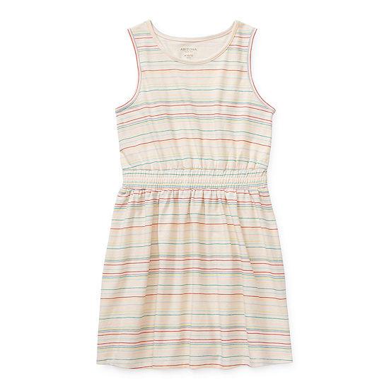Arizona Little & Big Girls Sleeveless Striped A-Line Dress