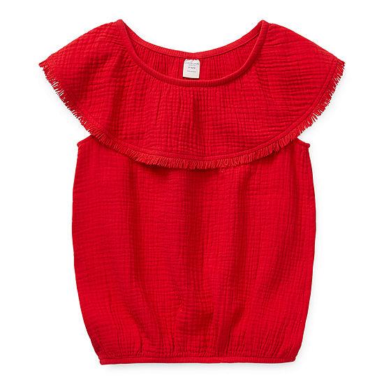 Arizona Little & Big Girls Scoop Neck Short Sleeve Blouse