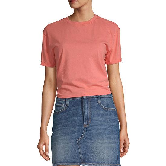 Flirtitude Juniors Womens Crew Neck Short Sleeve T-Shirt