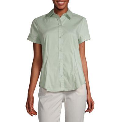 Liz Claiborne Womens Short Sleeve Regular Fit Button-Front Shirt
