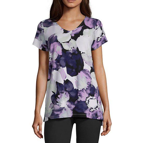 Liz Claiborne Studio-Womens V Neck Short Sleeve T-Shirt
