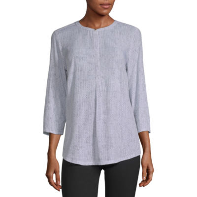 Liz Claiborne Studio Womens Crew Neck 3/4 Sleeve Tunic Top