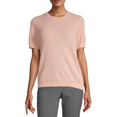 Liz Claiborne Womens Crew Neck Short Sleeve Pullover Sweater