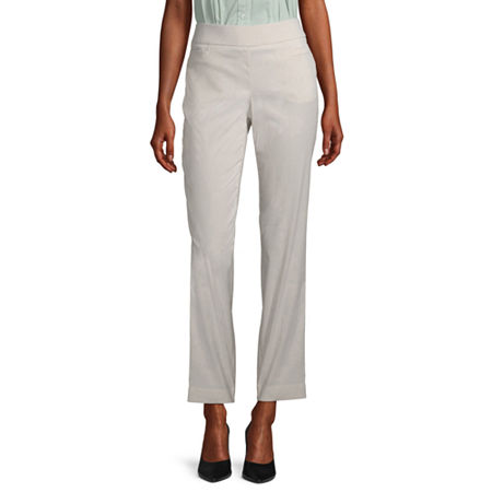 Liz Claiborne Womens Straight Pull-On Pants, 6 , Beige
