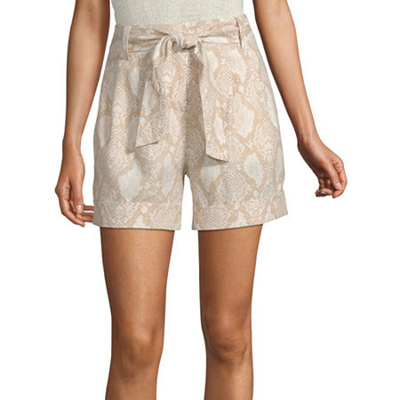 Worthington Womens High Rise Midi Short, 6 , Beige