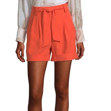 Worthington Womens High Rise Midi Short, 10 , Orange