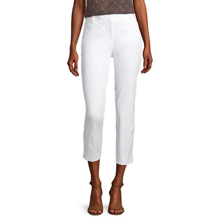 Worthington Womens Regular Fit Ankle Pant, 14 , White