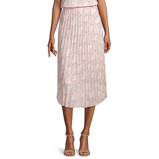 Worthington Womens High Rise Midi Pleated Skirt