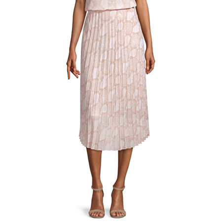 Worthington Womens High Rise Midi Pleated Skirt, Small , Beige