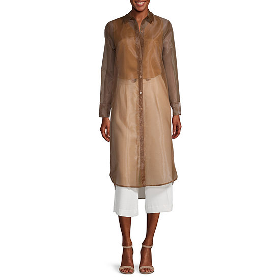 Worthington Womens Long Sleeve Tunic Top
