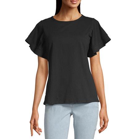 Worthington-Womens Round Neck Short Sleeve T-Shirt, X-small , Black