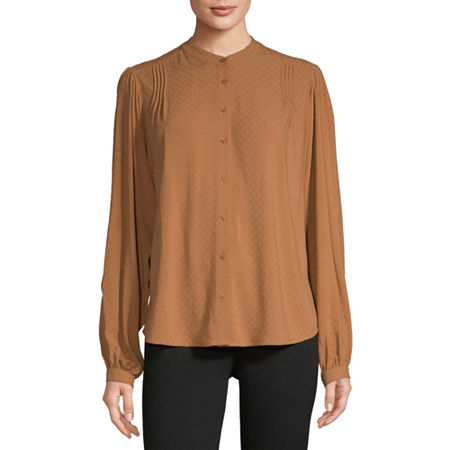 Worthington Womens Long Sleeve Blouse, Small , Brown