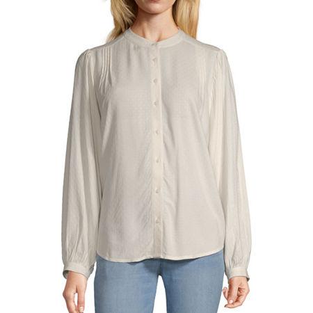 Worthington Womens Long Sleeve Blouse, X-large , White