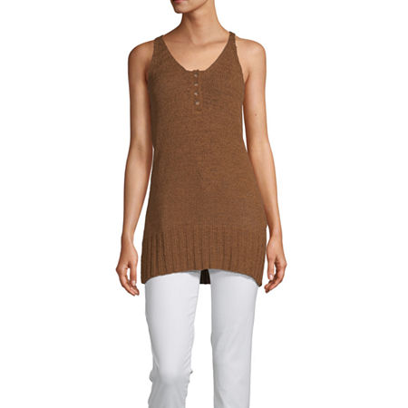 Worthington Womens Henley Neck Sleeveless Pullover Sweater, X-small , Beige