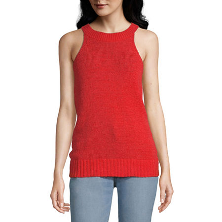 Worthington Womens High Neck Sleeveless Pullover Sweater, Medium , Orange