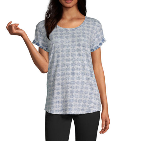 a.n.a-Womens Round Neck Short Sleeve T-Shirt, X-small , Blue - 84202550034