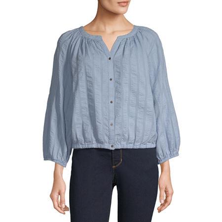 a.n.a Womens 3/4 Sleeve Regular Fit Button-Down Shirt, Small , Blue
