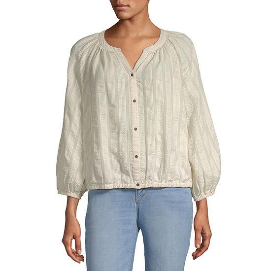 a.n.a Womens 3/4 Sleeve Regular Fit Button-Down Shirt