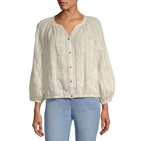 a.n.a Womens 3/4 Sleeve Regular Fit Button-Down Shirt, Medium , Beige