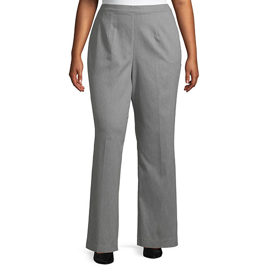 Alfred Dunner-Plus Short Well Red Womens Straight Pull-On Pants