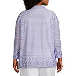 Alfred Dunner Nantucket Womens Round Neck 3/4 Sleeve Layered Top-Plus