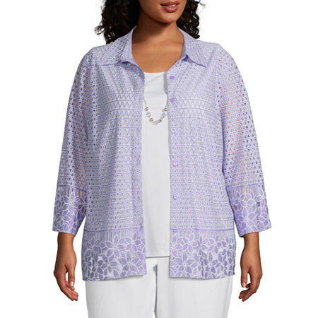 Alfred Dunner Nantucket Womens Round Neck 3/4 Sleeve Layered Top-Plus, 1x , Purple