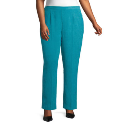 Alfred Dunner-Plus Short Walnut Grove Womens Straight Pull-On Pants