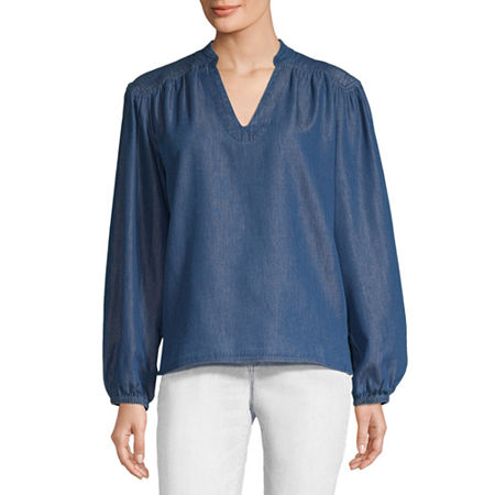 a.n.a Womens Long Sleeve Blouse, Small , Blue