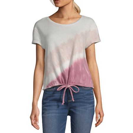 a.n.a Womens Crew Neck Short Sleeve Tie-dye Sweatshirt, Small , Pink