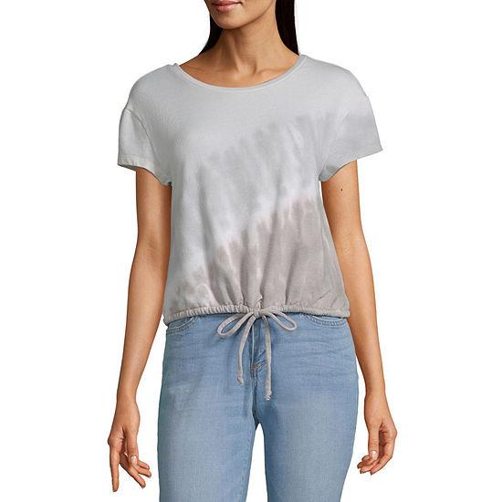a.n.a Womens Crew Neck Short Sleeve Sweatshirt