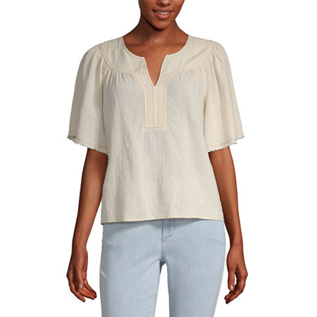a.n.a Womens Split Crew Neck Short Sleeve Blouse, Small , Beige