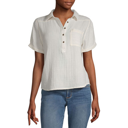 a.n.a Womens Short Sleeve Camp Shirt, X-small , Beige