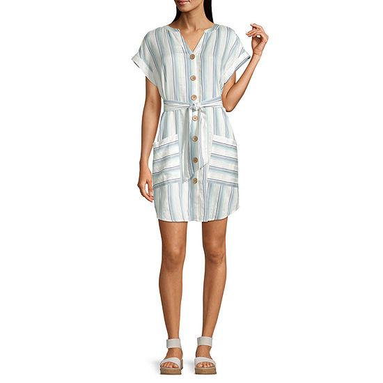 a.n.a Short Sleeve Striped Shift Dress