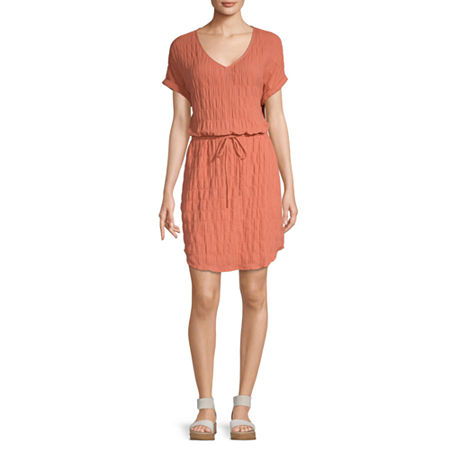 a.n.a Short Sleeve Shirt Dress, X-small , Red