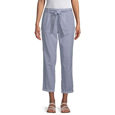 Liz Claiborne Belted Cropped Pants, 12 , Blue