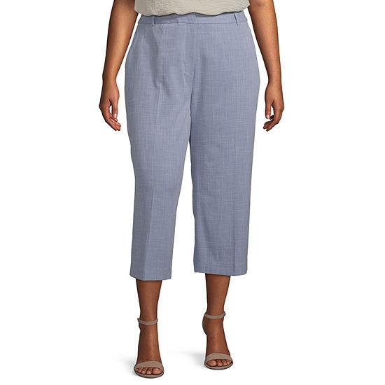 Worthington Womens High Waist Wide Leg Crop Pant- Plus