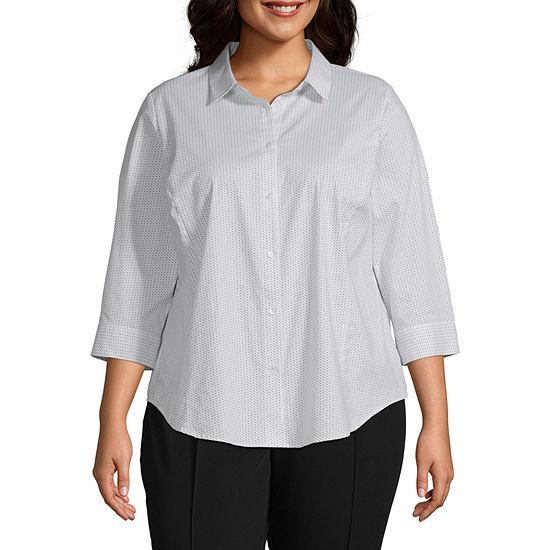 Liz Claiborne Womens 3/4 Sleeve Button Front Shirt - Plus