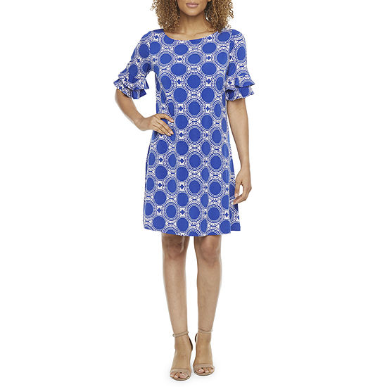 Ronni Nicole Short Tiered Sleeve Circle Puff Print Shift Dress