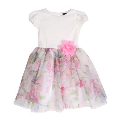 Lilt Toddler Girls Short Sleeve Floral A-Line Dress