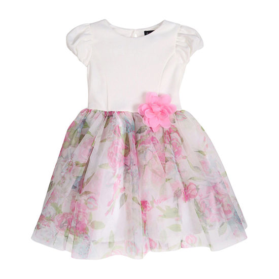 Lilt Toddler Girls Short Sleeve Floral A-Line Dress