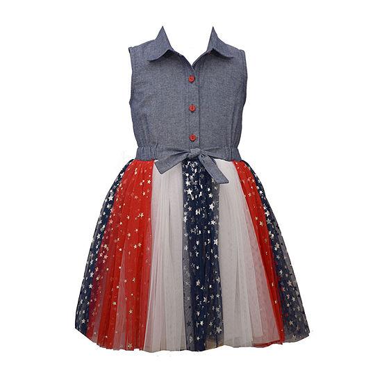 Bonnie Jean Americana Big Girls Sleeveless Shirt Dress
