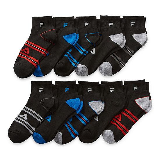 Fila Big Boys 10 Pair Quarter Socks