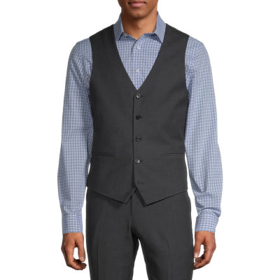 JF J.Ferrar Black Geo Mens Dots Stretch Regular Fit Suit Vest - Big and Tall