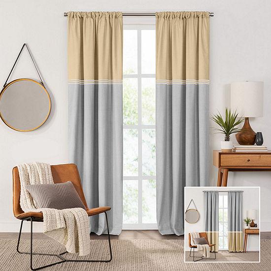 Fieldcrest Devin Flippable Stripe Cotton Chambray Energy Saving 100% Blackout Rod-Pocket Single Curtain Panel
