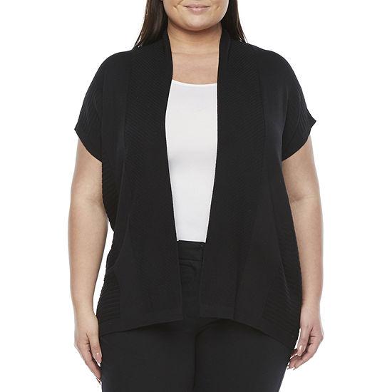 Liz Claiborne-Plus Womens Short Sleeve Open Front Cardigan